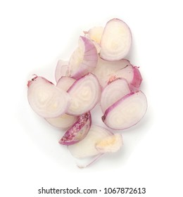 Sliced and Chopped Fresh Shallots on a white background.