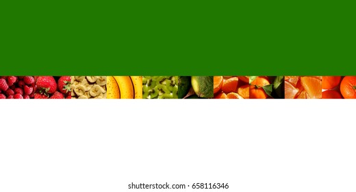 Sliced, chopped or whole berries, bananas and citrus fruits inside ten small rectangles placed in a row, on green and white background