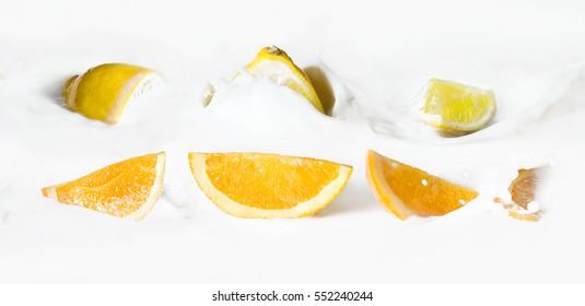 Sliced citrus fruits (oranges and lemon) in the milk