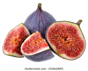 Sliced figs closeup isolated on a white background.