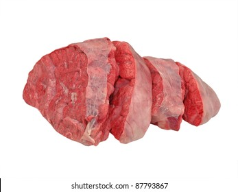 Sliced cow lung isolated on a white background.