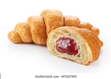 Sliced croissant with strawberry jam isolated on white background.