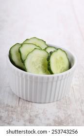 Sliced cucumber in a bowl