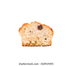 Sliced delicious muffin with rasins on white background