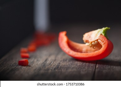 Sliced and diced pieces of bell pepper