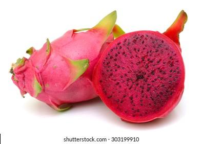 Sliced dragon fruit isolated on white background