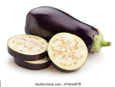 sliced eggplant isolated