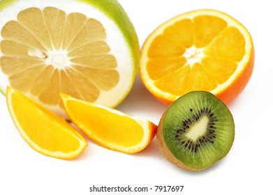 sliced, fresh citrus - grapefruit, orange, kiwi