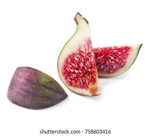 Sliced fresh fig isolated on white background