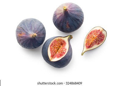 sliced fresh figs on white background