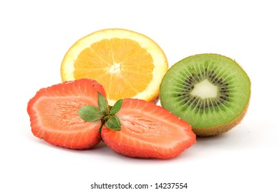 sliced fresh fruit studio isolated