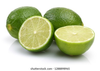 Sliced fresh lime fruits isolated on white background