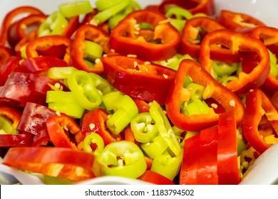 Sliced  fresh pepper in a dish