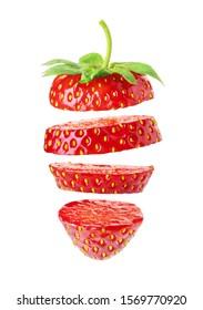sliced fresh ripe strawberry isolated on white background