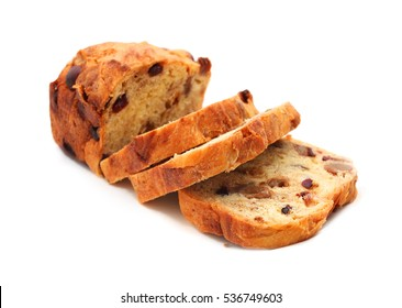 sliced fruit bread isolated on white background