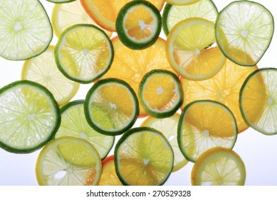 Sliced Fruit Lemons Limes Oranges