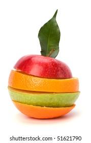 sliced fruits isolated on white background