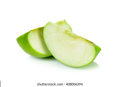 Sliced Green apple isolated on the white background