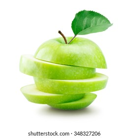 Sliced green apple over white background
