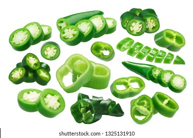 Sliced Green Chiles (chile peppers round slices), different varieties, isolated on white