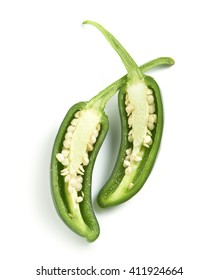 sliced green peper on a white background with a soft shadow
