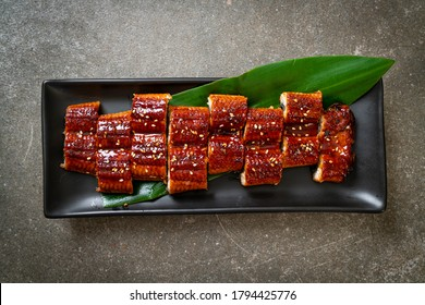 sliced grilled eel or grilled unagi with sauce   (Kabayaki) - .Japanese food style