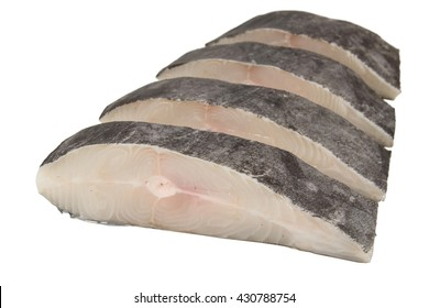 Sliced Halibut fish, white background.