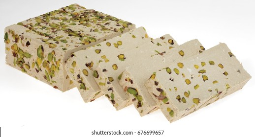 Sliced halva on white