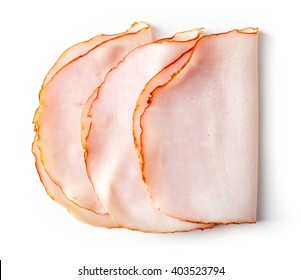 Sliced ham isolated on white background, top view