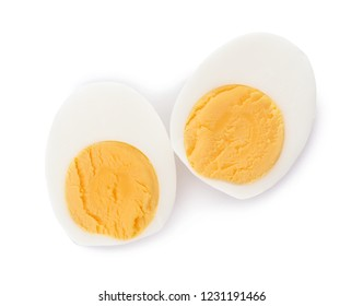 Sliced hard boiled egg on white background