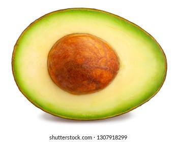 sliced hass avocado path isolated