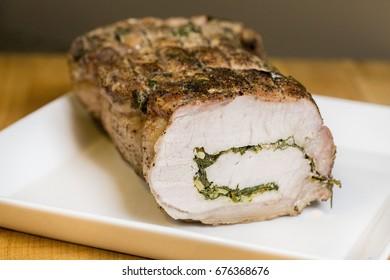 Sliced Homemade Stuffed Pork Tenderloin Roast