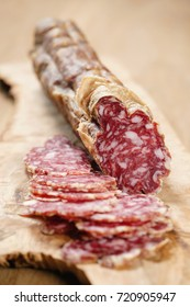 sliced italian salame close up shot