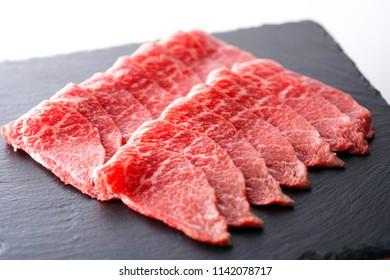 Sliced Japanese Beef. Wagyu.