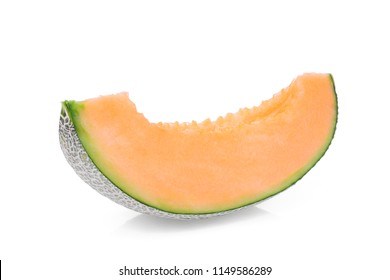 sliced japanese melon, orange melon or cantaloupe melon isolated on white background