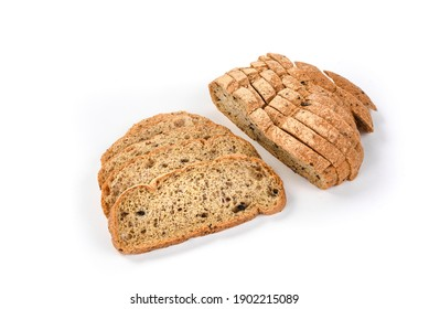 Sliced ketogenic bread made of oatmeal and coconut flour on a white background