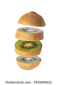Sliced Kiwi fruit isolated on white background. Levity fruit floating in the air. - Shutterstock ID 1941849622