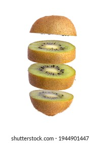 Sliced Kiwi fruit isolated on white background. Levity fruit floating in the air. - Shutterstock ID 1944901447