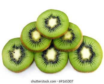 Sliced kiwi fruits on a white background