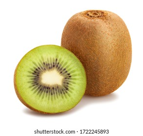 sliced kiwi path isolated on white