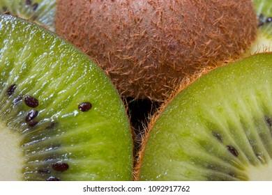 sliced kiwi pieces, macro photo
