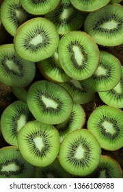Sliced kiwi as textured background