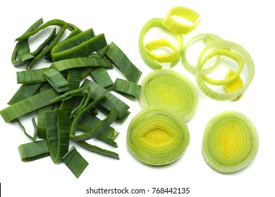 sliced leek isolated on white background top view