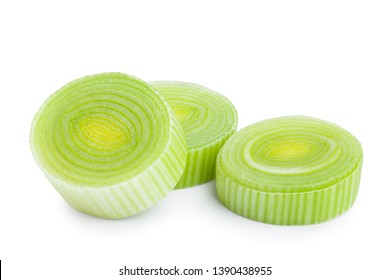 sliced Leek vegetable isolated on white background