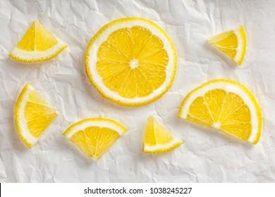 Sliced lemon. Flat lay the design of the lemon. Concept of eating. Lemon slices. Closeup