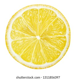 sliced lemon texture on white background isolated