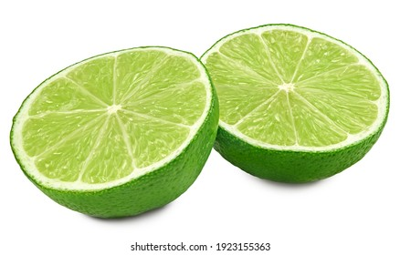 sliced lime isolated on white background. clipping path