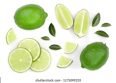 sliced lime with leaves isolated on white background. Top view. Flat lay pattern