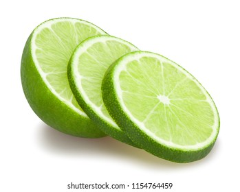 sliced lime path isolated on white