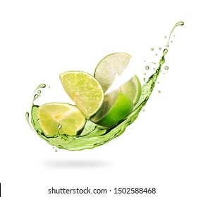 Sliced lime with splashes of fresh juice close-up on white background